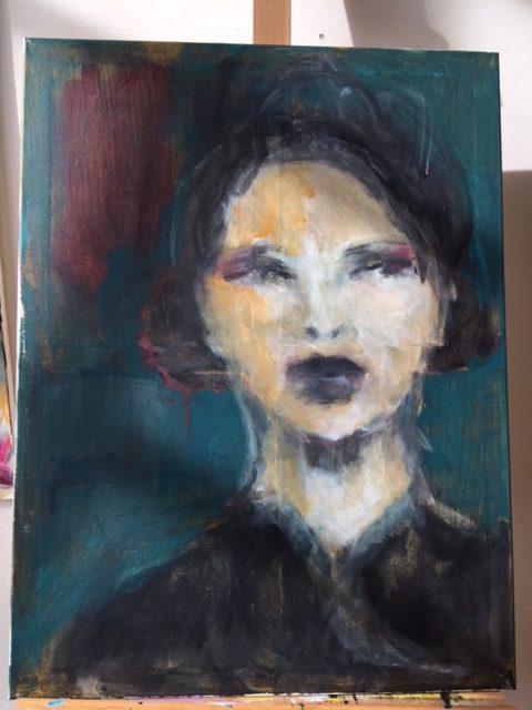 portrait turquoise background